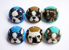 Sewing Buttons / Fabric Buttons - 6 Large Fabric Buttons Set  For other dog buttons, please go to: https://www.etsy.com/shop/heydayhandmade?ref=listing-shop2-all-items-count&search_query=dog+sewing+buttons  This listing is for a set of 6 fabric covered buttons made exclusively from a Japanese cotton carried in our supplies store.  Hand-sewn, gathered and created from scratch (not hand-pressed), these plastic shank buttons offer a rounder surface than met...