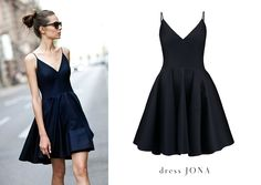 Get ready for Fall: check out La Mania's cocktail spaghetti strap JONA dress with fancy bottom #LaMania #StreetStyle