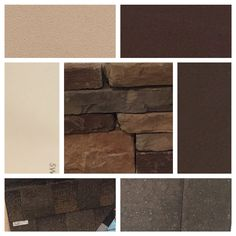 """Color pallet for the exterior of the house. Dryvit stucco Monastery Brown-Sherwin Williams Polished Mahogany(doors/shutters) -Sherwin Williams-Muslin (trim) Stonework """"Chardonnay""""-Sherwin Williams-Sable (gables) roof and paver selections."""