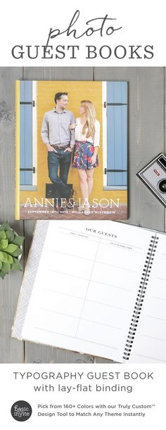 Remember your guests forever with a fully customizable photo wedding guest book.  Match your colors and style for free! Instant previews of every change.