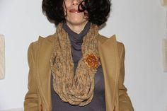 collana donna lana con giada sciarpa lana pietre dure lame