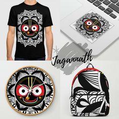 'Jagannath Lord' Premium T-Shirt by Lövei Éva Lord Jagannath, Deities, Buddhism, Decoration, Screen Printing, T Shirt, Black And White, Prints, Pattern
