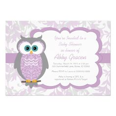 owl baby shower invitations | Owl Baby Shower Invitation for Girls, Purple - 730 from Zazzle.com