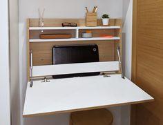 Wall Mounted Folding Desk Office Desk Secretary Desk Floating | Etsy Tiny Office, White Desk Office, Home Office Desks, Closet Office, Closet Desk, Office Spaces, Space Saving Table, Space Saving Furniture, Office Furniture