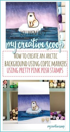 How to Create an Arctic Background using Copic Markers - Come check out this step by step tutorial on how to create an arctic scene using Copic Markers Coloring Tips, Free Coloring Pages, Adult Coloring, Copic Pens, Copics, Copic Art, Prismacolor, Card Making Tutorials, Making Ideas