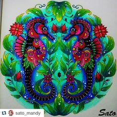 Instagram media desenhoscolorir - Cavalos marinhos baphônicos by @sato_mandy #johannabasford #lostocean #desenhoscolorir #oceanoperdido #oceanocolorido #adultcoloring #coloringbook #seahorse #cavalomarinho