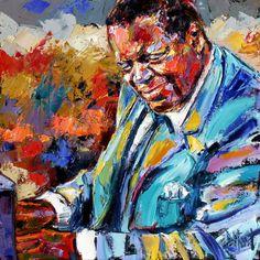 "Contemporary Artists of Texas: Abstract Jazz Art Portrait, Music Art Paintings ""Oscar Peterson"" by Texas Artist Debra Hurd"
