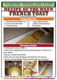 Delicious French Toast! Phase 1 approved and non-restricted. Made with the Ideal Protein Omelet mix... this is absolutely delicious, tastes like a regular French toast and is very filling!  Enjoy! Happy pinning, happy dieting!