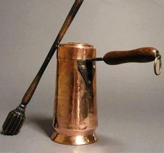 French Copper Chocolate Pot And Stirrer, late 18th to early 19thc.
