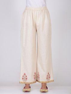 1db3761283 Beige Elasticated-Waist Block-Printed Khadi Pants Pants For Women