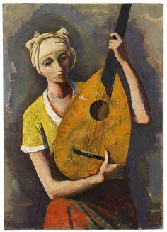 Girl With Lute. Karl Hofer.