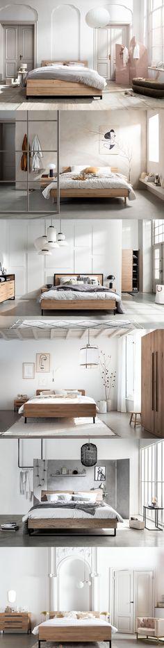 Eikenhouten en melamine beddencollectie Balance is nu verkrijgbaar bij Swiss Sense. Rustig, modern en gebaseerd op de natuur. Zo kom je helemaal tot rust in je slaapkamer! Laad op en sta op voor een nieuwe, energieke dag. New Room, Minimalist Home, Home Decor Bedroom, Cozy House, Home Interior Design, Sweet Home, New Homes, House Styles, Moldings