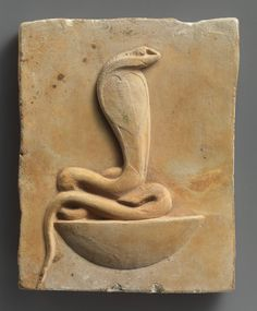 Relief plaque of cobra on a neb basket late Ptolemaic period. BC Egypt, limestone Cobra protection deity on neb basket represents upper and lower Egypt. Ancient Egyptian Art, Ancient History, Art History, Egyptian Pharaohs, Egypt Art, Ancient Artifacts, Ancient Civilizations, Illuminati, Archaeology