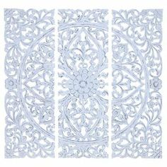 """3-Piece wood wall plaque set in white with a scrollwork motif.   Product: 3 Piece wall panel setConstruction Material: WoodColor: Distressed whiteFeatures:  Hand-carved floral and leaf motifsOld world charm Dimensions: 48"""" H x 16"""" W x 0.5"""" D each"""