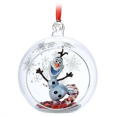 Olaf the silly snowman will brighten your decor as a fully sculptured miniature figure within a decorative glass globe ornament. Inspired by Frozen it features an open picture window and snowflakes to bring a cool accent to your holiday tree. Hanging Christmas Tree, Holiday Tree, Hanging Ornaments, Christmas Tree Decorations, Christmas Tree Ornaments, Frozen Christmas, Disney Christmas, Christmas Crafts, Disney Olaf