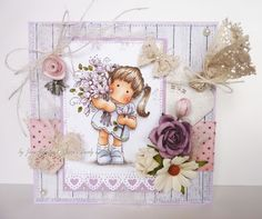 Janes Lovely Cards : Ribbon Girl DT - Magnolia Only Challenge - Add Flowers