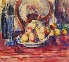 Paul Cézanne, Apples, bottle and chairback (circa 1904-06). Graphite and watercolour