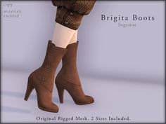 Ingenue ❈ Brigita Boots ❈ Demo available ❈ 2 sizes included ❈ 12 variations ❈ Materials enabled ❈ 188L each ❈ 1088L fatpack
