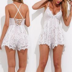 Sexy Scalloped Lace Straps Romper Jumpsuit Dress