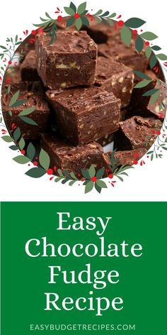 You only need 5 ingredients to make this super Easy Chocolate Fudge recipe. This classic holiday candy is always a favorite! For more holiday dessert recipes follow Easy Budget Recipes Easy Chocolate Fudge, Chocolate Flavors, Chocolate Recipes, Budget Desserts, Fun Desserts, Delicious Desserts, Fudge Recipes, Best Dessert Recipes, Easy Holiday Recipes