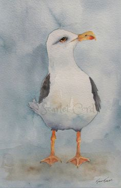 Sea Gull Watercolor Print, Beach Print, 4x6 Painting, Note Card and Envelope, Sea Gull Painting, Beach Wall Decor