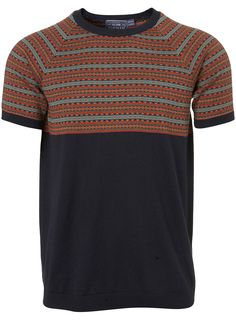 NAVY PATTERN KNITTED T-SHIRT  Price: £26.00