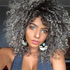 Short Curly Hair with Volume and Fullness. This thick short hairstyle and color brings out her beautiful eyes and lips. This hair type is perfect to use the Voluflex hairbrush for volume and styling. Short Hairstyles For Thick Hair, Short Curly Hair, Wavy Hair, Curly Hair Styles, Cool Hairstyles, Natural Hair Styles, Grey Curly Hair, Short Haircuts, Hairstyles Haircuts