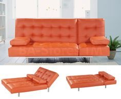 Trio Orange Leatherette Sofa Bed - AtHomeUSA