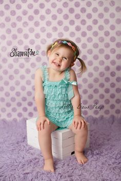 Baby Girl Clothes-SET-Lace Petti Romper & Flower by LillyBowPeep