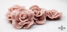 Resin Cabochon  5pcs  Flower Cabochon  Nude Mauve by SupplyWorld, $2.75