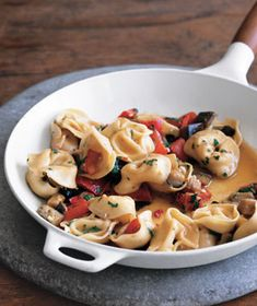 Tortellini with Eggplant and Peppers|Using only one large skillet, this vegetarian one-pot meal makes cleanup a snap. That, combined with its nutritious ingredients (eggplant and peppers), translates to a winning dish for the whole family.