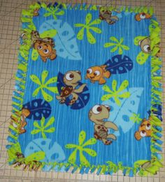 Disney Finding Nemo & Squirt Hand Tied Blanket- Must find fabric! These are so simple to make :)