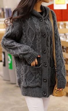 Ovesized Dark Grey Cardigan - Button Closure At Front