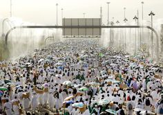 Muslim pilgrims pray on Mount Mercy on the plains of Arafat during the annual haj pilgrimage, outside the holy city of Mecca.