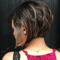 Inverted Brunette Bob with Feathered Highlights