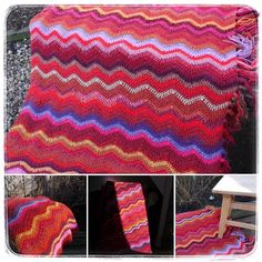 Missoni-style inspired crochet throw. Hand-crafted ripple afghan created with up-cycled mixed yarn (wool, mohair, acrylic, nylon, linen, cotton, metalised fibres). Simple design based on Trebles (UK) or Double Crochets (US).  Date of completion: February 2011