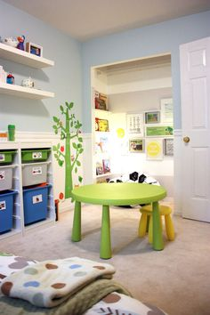 IKEA Mammut table, Trofast storage, Lack shelves and Ribba picture shelves (holding the books) combine to create a refreshing and fun kids bedroom!