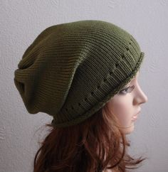 Knit Hat for Women  Slouchy Beanie Knitted by kristineshopforyou