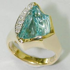 "indeslab: ""Carved Aquamarine, Diamond and 18ct Yellow Gold Ring - Hans Meevis """