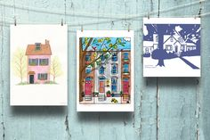 A Portrait of Home: Custom House Illustrations from Etsy Artists (Apartment Therapy Main) Smash Book, House Illustration, Illustrations, Columbia Heights, Free To Use Images, Dinners For Kids, Custom Art, Custom Homes, Decorative Items