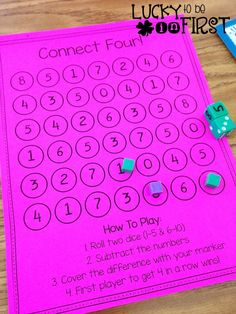 Math Mania Dice Game: Connect Four~ Love this for Centers! Review subtraction skills. From Lucky to Be in First