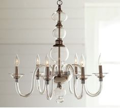 Blown glass chandelier from Pottery Barn