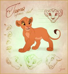 Tama Reference Sheet by EmilyJayOwens on DeviantArt Simba Disney, Disney Lion King, Disney And Dreamworks, Animal Sketches, Animal Drawings, Drawing Sketches, The Lion King 1994, Lion King Fan Art, Arte Disney