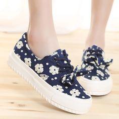 夏碎花帆布鞋韩版学生板鞋女春浅口平底单鞋潮松糕鞋低帮休闲鞋子