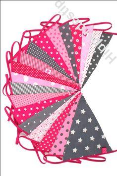 slinger stof vlaggenlijn roze grijs