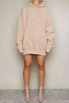 563335cd Nude Hoodies, Oversized Hoodie Dress, Holiday Outfits, Winter Outfits, Jean  Jacket Outfits