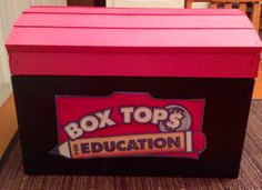 Our new Box Top Treasure Chest.Great idea for the Front office! Box Tops For education