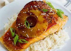 Salmón de piña en salsa teryaki
