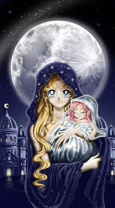 """Sailor Moon R"" fan art - Neo Queen Serenity and an infant Princess Small Lady Serenity. Holy moon by Pillara"