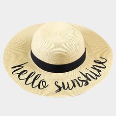 ac84abe8 Amtal Women Elegant Wide Brim Embroidered Beach Pool Floppy Summer Vacation Sun  Hat (Hello Sunshine